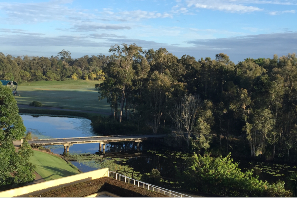 View from Balcony over Water & Greg Norman Design Golf Course