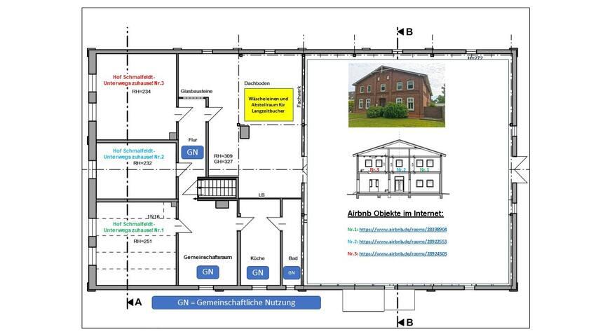 Grundriss des Obergeschosses und deren Zimmer.