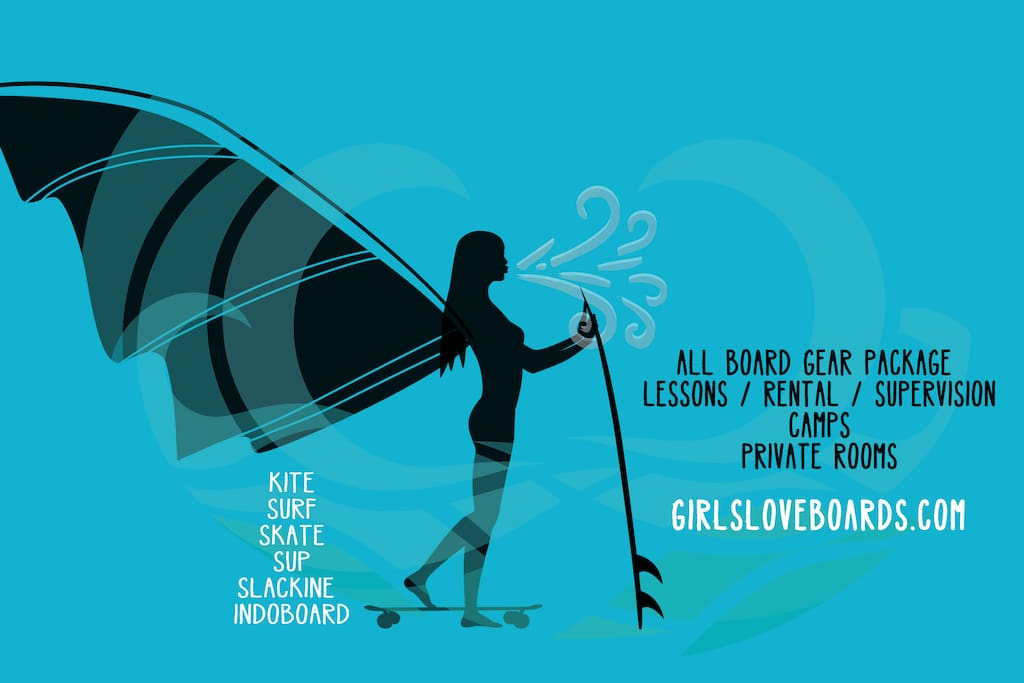girlsloveboards.com offers kite, surf and skate lessons, rental and camps!