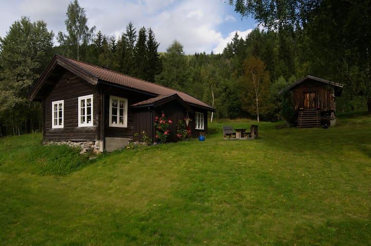 Tømmerhus i trivelig gårdstun i målarbygda Flatdal