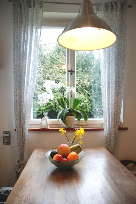 If you would like to have breakfast - this is where you'll sit - lovely with the view of the garden.