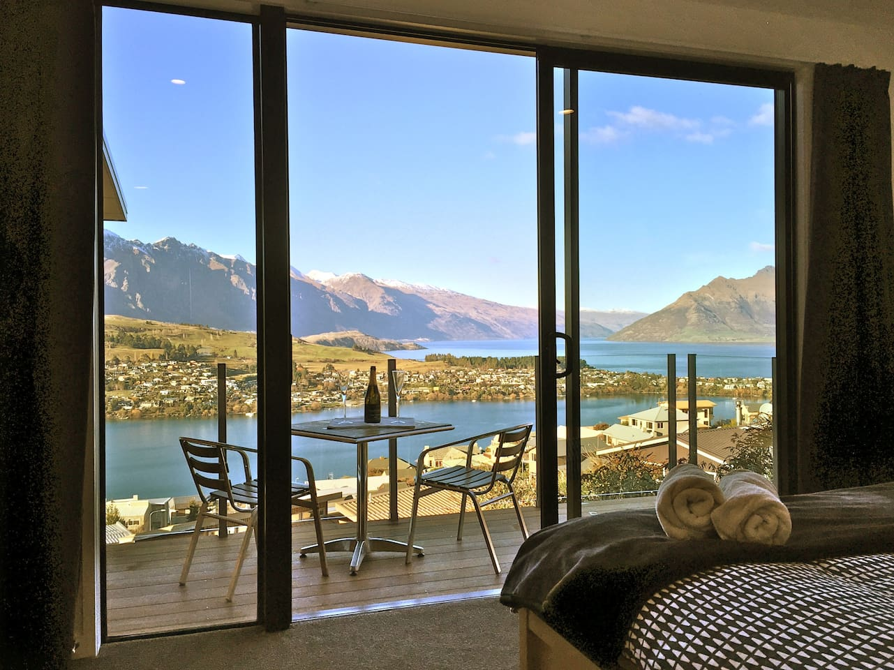 Stunning views from your bed! The guestroom has it's own balcony.