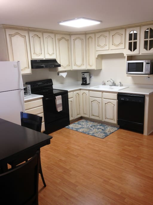 Spotless kitchen with all the necessities to cook your own meals.