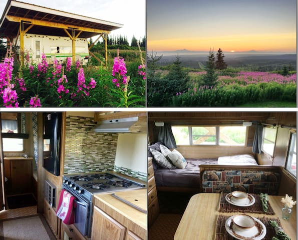 Trailer Glamping with Sweeping Volcano Views!