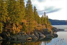 Trails around the lake.