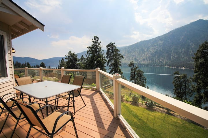 Spacious, dog-friendly home with lake view & wrap-around deck!