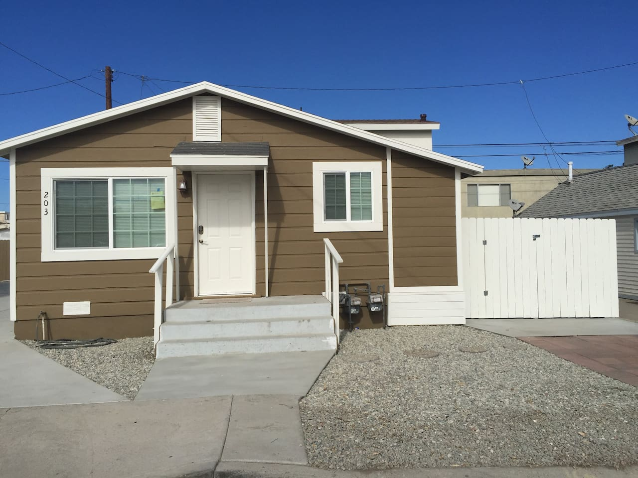 Front of Cozy Silver Strand Beach House with 2 parking spaces in front