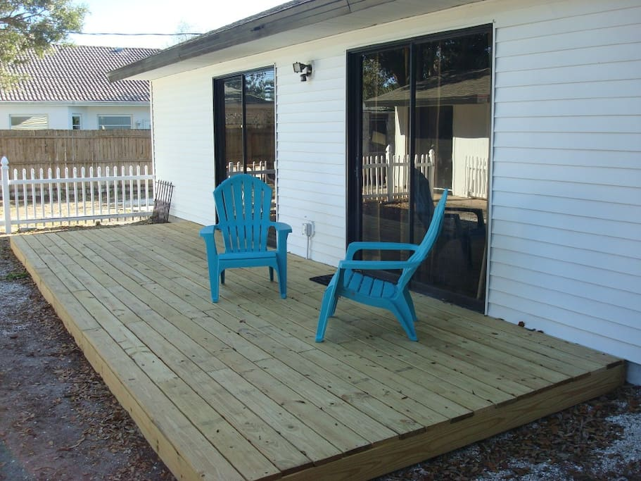 We are staining the deck so BBQ and table and chairs are not shown but are part of the property.