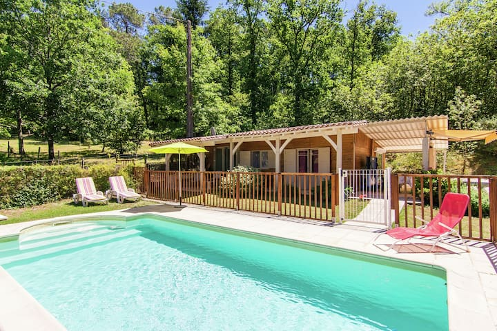 Detached chalet with enclosed private swimming pool and beautiful view.