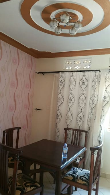 dinning room with wall papered