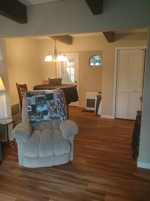 The open floor plan with dining area.