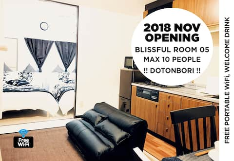 Blissful Room 05 in Dotonbori debut for 4-10people very conveniently located // we will provide you Youtube url for access to the apartment from Nagahoribashi station, Nippombashi station, and Dotonbori, Shinsaibashi shopping street. 4 videos. access is super easy. // 6min on your foot to Dotonbori.