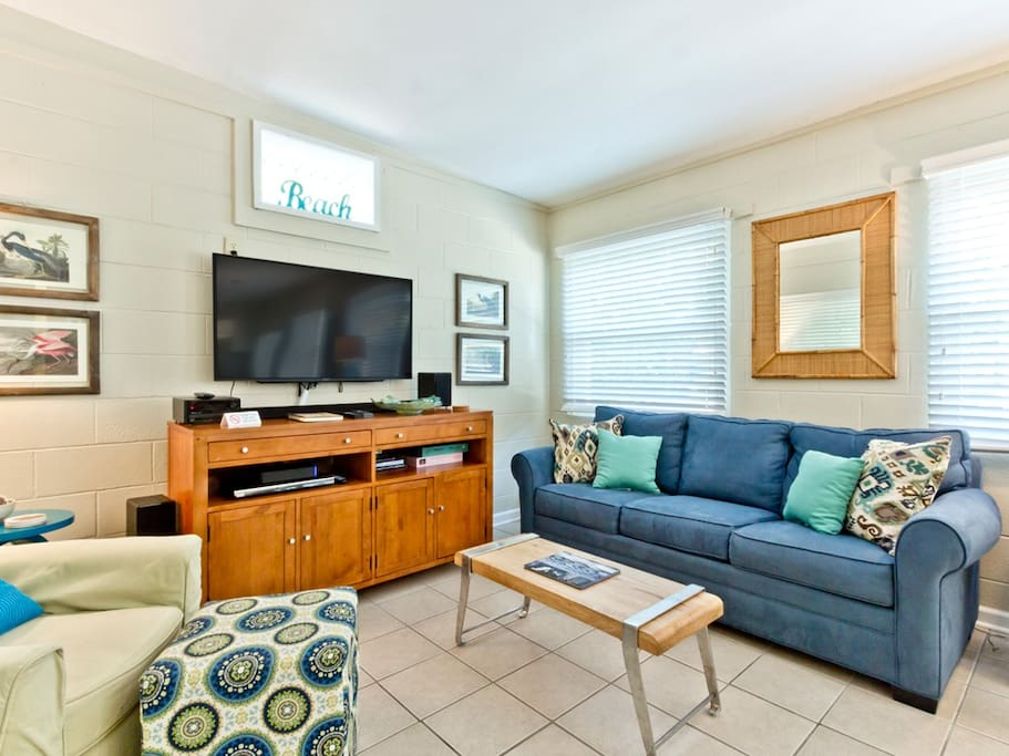 Living area with TV and Sleeper Sofa