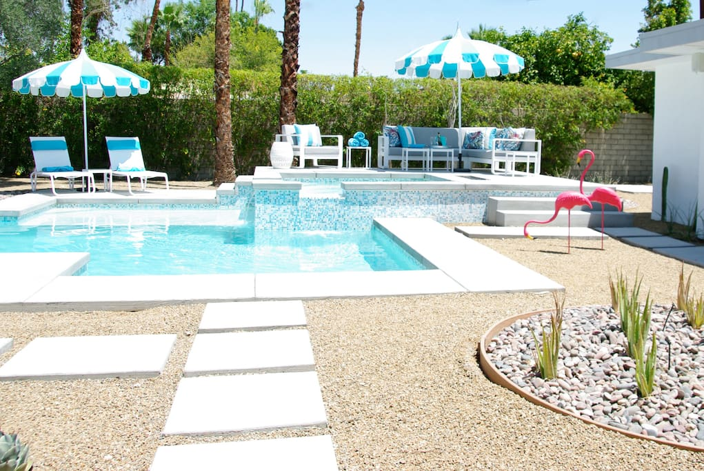 Glamorous pool and spa area
