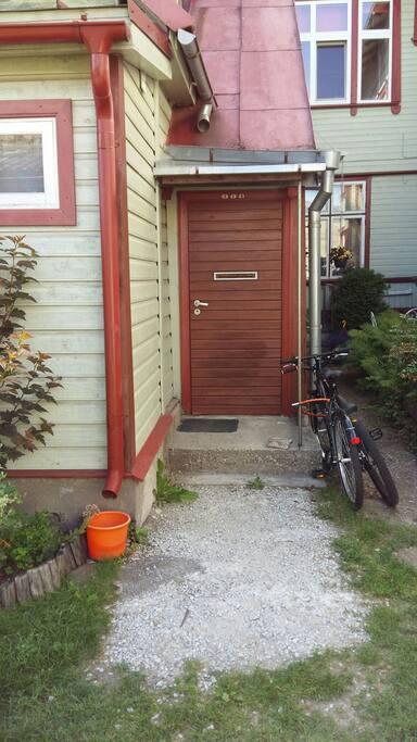 Entrance door in the backyard