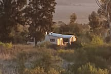 Sunset view of our pet friendly Olive cottage.