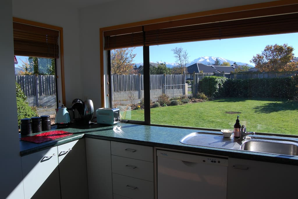Kitchen looking up to Mt Hutt