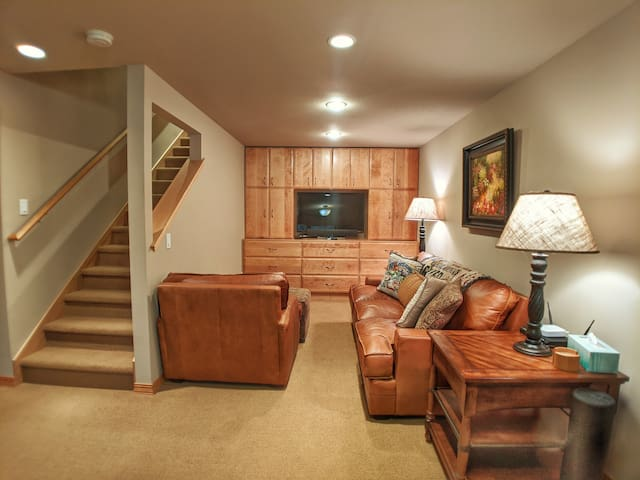 Lower level tv room. Includes HD flat screen TV with cable and streaming capabilities, as well as a gaming console.