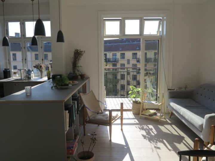 Beautiful home in CPH with a huge sunny balcony