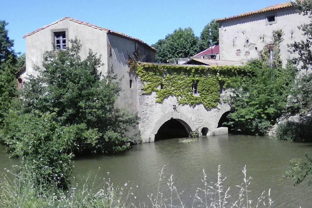 zicht op het huis/loft/watermolen vanaf de rivier.