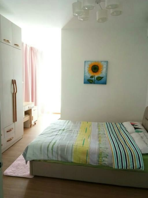 Room 2 with Queen bed and attached bathroom