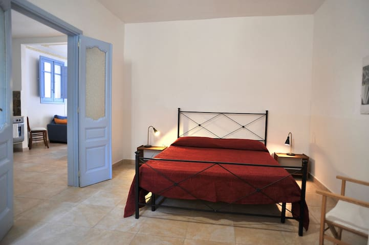 Second bedroom with double bed and one single bed. Air condition.