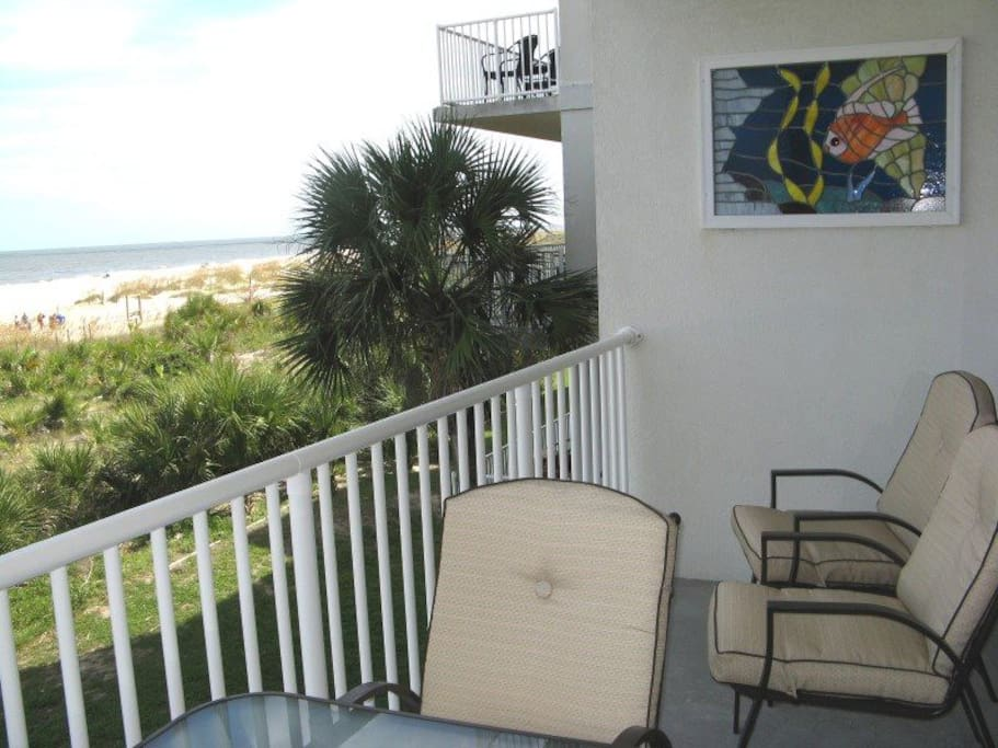 Spectacular views of the Atlantic Ocean await you from the private balcony of this Tybee vacation condominium