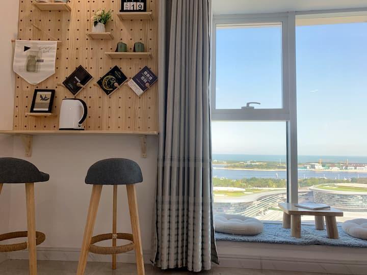 【听闻】落地窗海景|海上日出|超高清大屏投影|万平口|东夷小镇|海洋公园|万达广场