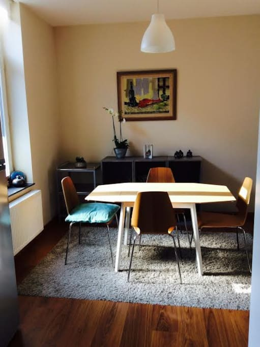 Dining area, sunny in the morning