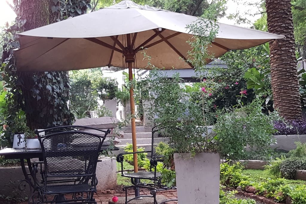 Lovely quiet garden to relax in. In this area is a very convenient gas barbecue that guests may use.
