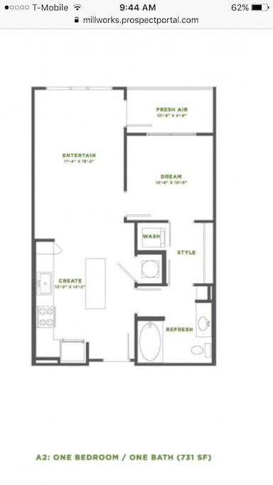 Floor plan with washer and dryer in unit