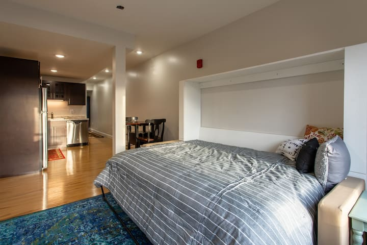 Most of our economy units have queen beds.  One has a queen size murphy bed. All have Serta Perfect Sleeper pillow top mattresses.