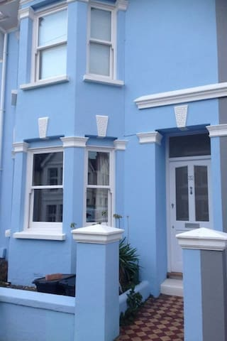 Our house is blue and easy to find.