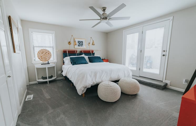 Master King bedroom with its own outdoor patio access and its on bathroom.