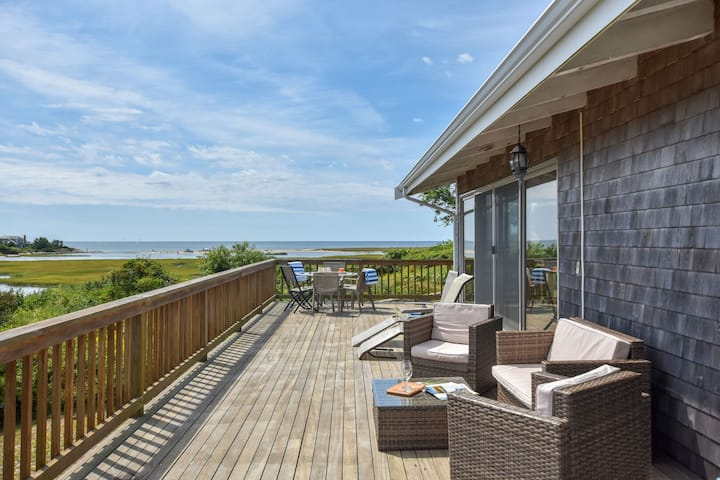 #612: Stunning views of Nantucket Sound, wrap around deck, walk to beach!