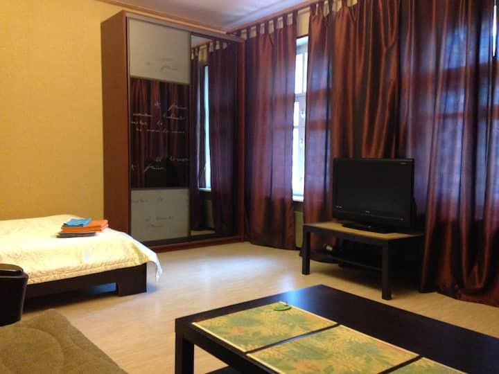 Большая уютная комната в центре города.