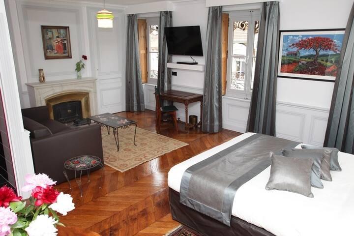 Notre Junior Suite se compose d'une chambre, avec grand lit, contigu avec un salon-bureau. Un canapé convertible pour deux y est à votre disposition (140cm x 200cm). Salle de bain contemporaine et WC complètent cet ensemble