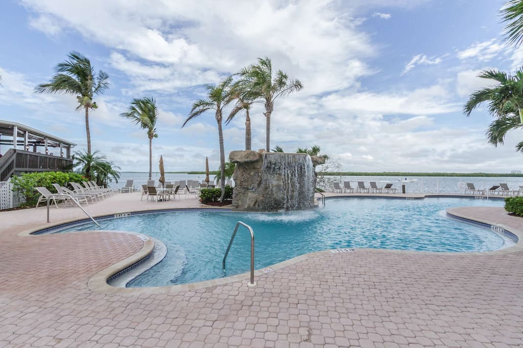 The heated resort pool, over looking Estero Bay, means you can enjoy a refreshing swim 365 days a year.