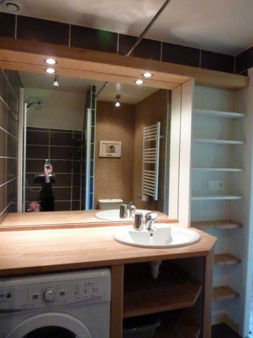La salle d'eau avec douche, wc et lave-linge.