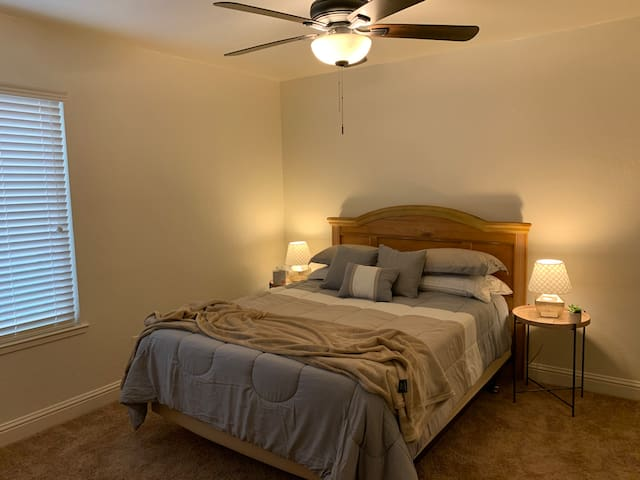 Sweet Dreams in the queen sized bed with mattress topper & premium bedding