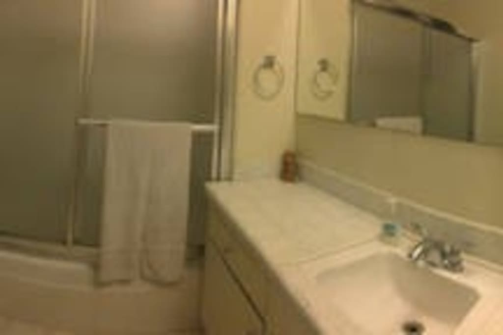 Shared bathroom with tub and shower. Shared with 1 roommmate.
