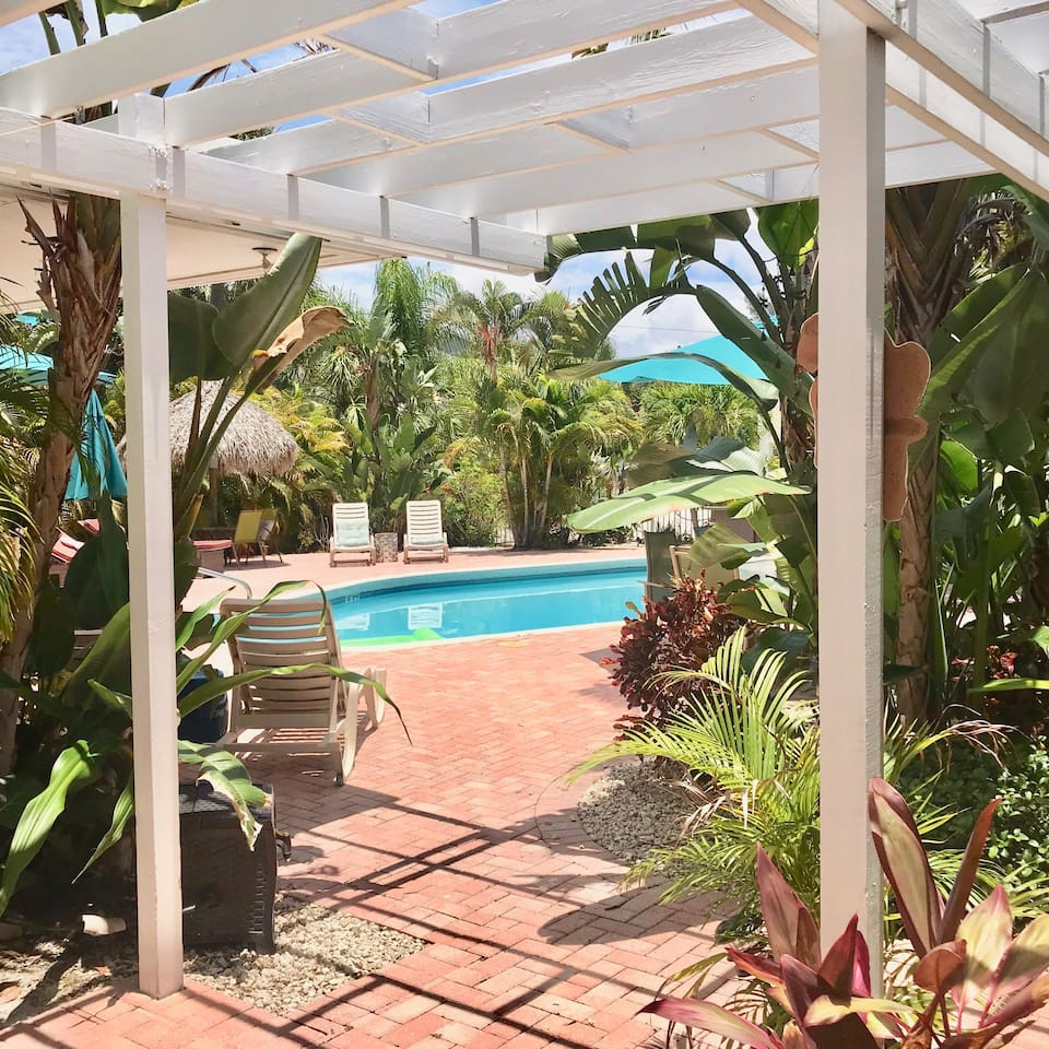 Relaxing comes easy at the tropical poolside paradise
