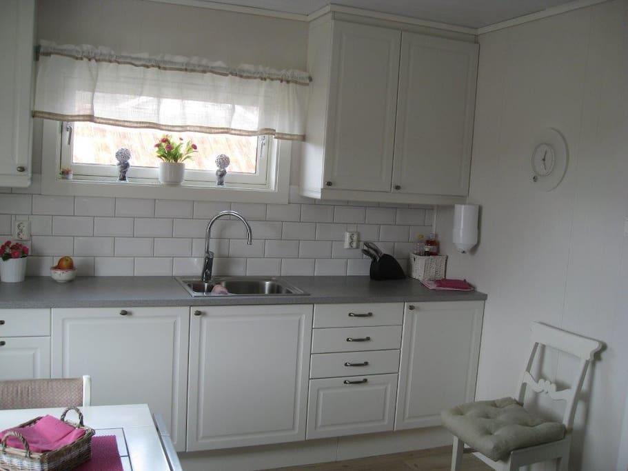 Nyoppusset kjøkken med oppvaskmaskin, mikrobølgeovn og komfyr