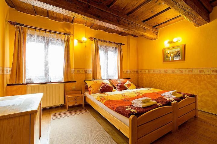 Double room with wooden ceiling