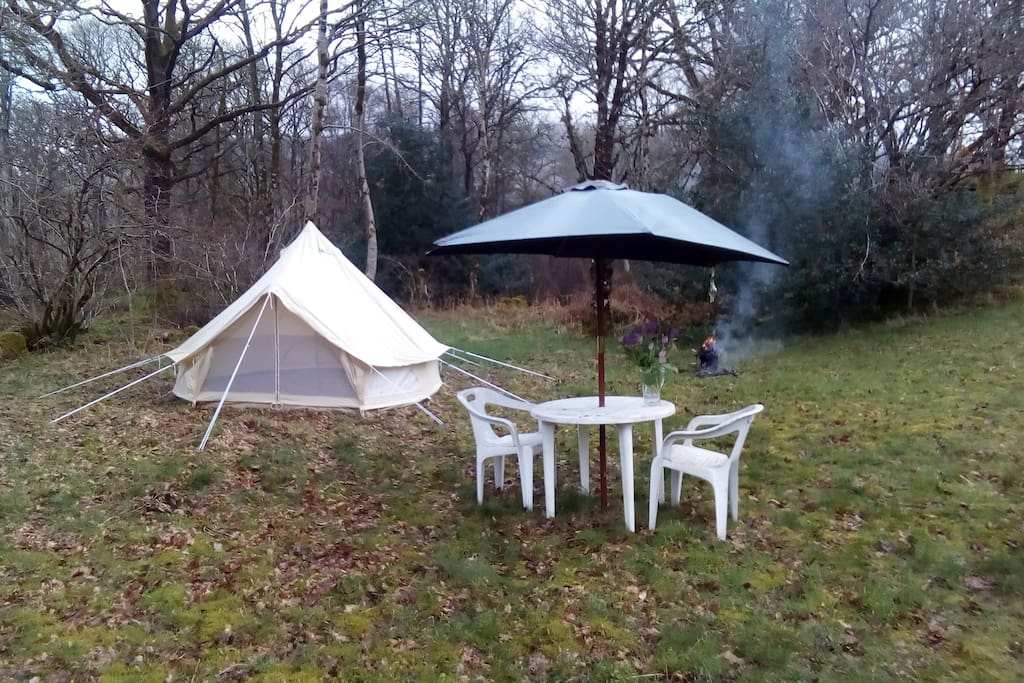 Cosy tipi on private lawn