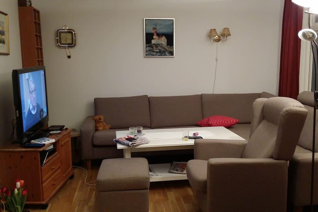 Sofakroken med tv