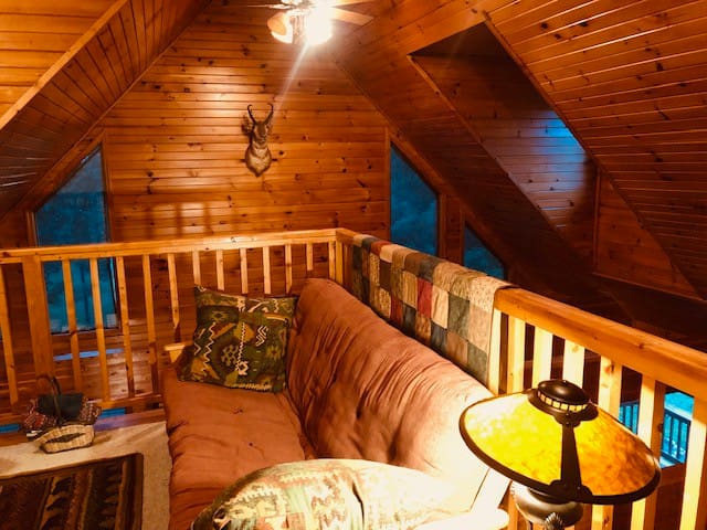 Comfortable Loft area with comfy futon overlooking the stone fireplace and glowing knotty pine walls.
