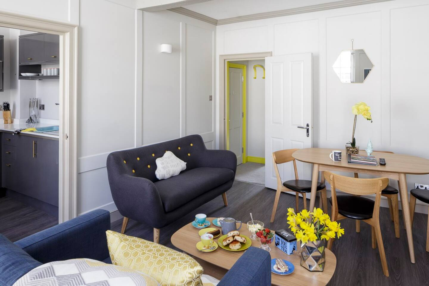 Dining and living area with smart Tv's