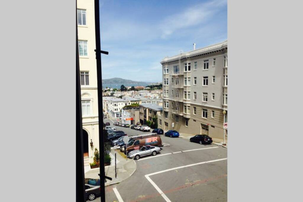 Living room view of bay and Alcatraz