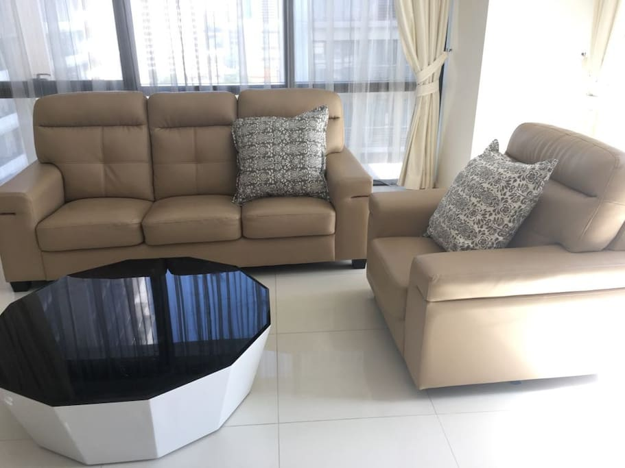 1+3 leather sofa with coffee table